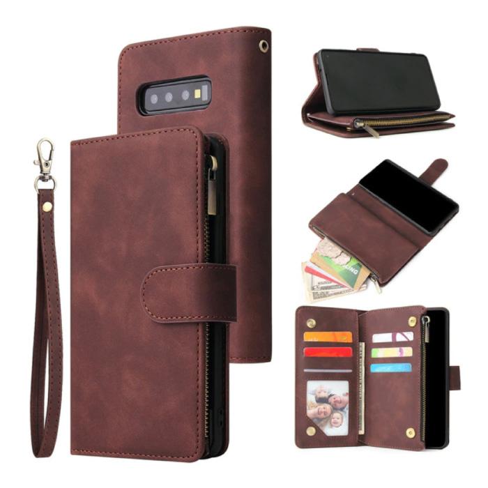 Samsung Galaxy S21 - Leder Geldbörse Flip Case Cover Hülle Brieftasche Coffee Brown