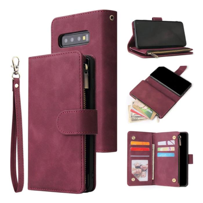 Samsung Galaxy S21 Plus - Leren Wallet Flip Case Cover Hoesje Portefeuille Wijn Rood