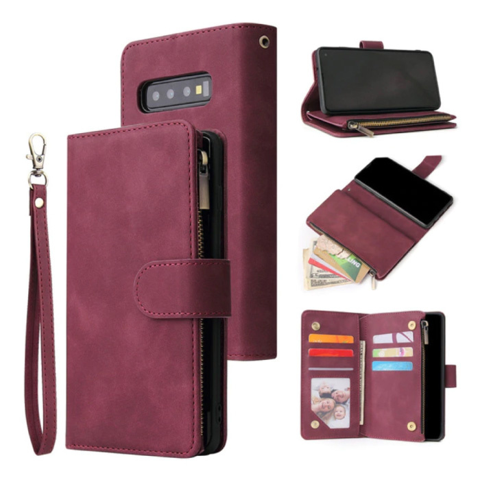 Samsung Galaxy S21 - Leather Wallet Flip Case Cover Case Wallet Wine Red