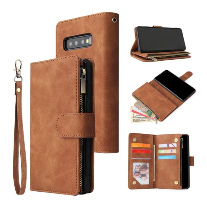 Samsung Galaxy S21 Plus - Leder Geldbörse Flip Case Cover Hülle Brieftasche Braun