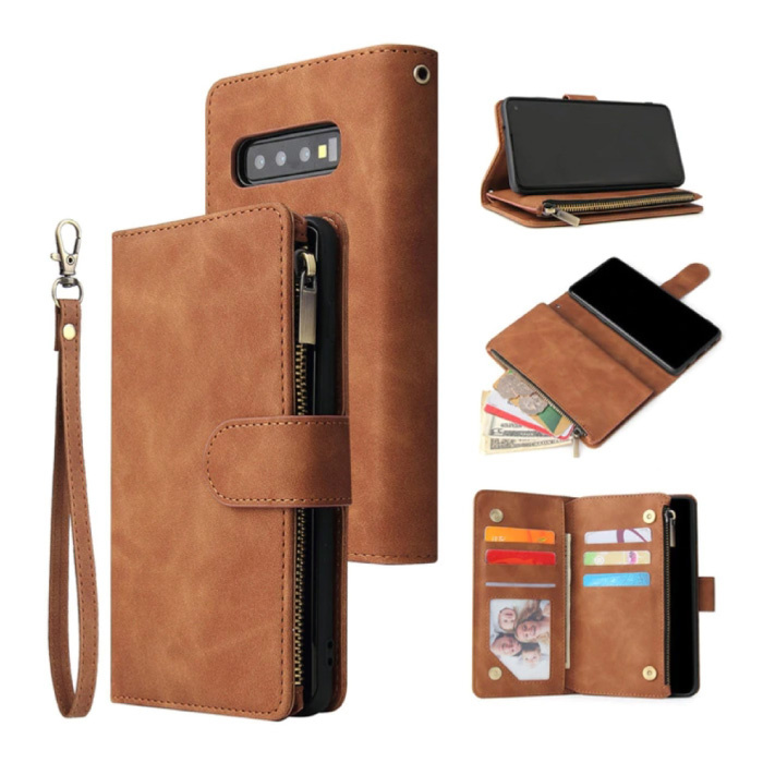 Samsung Galaxy Note 10 Lite - Etui portefeuille en cuir Flip Cover Wallet Marron