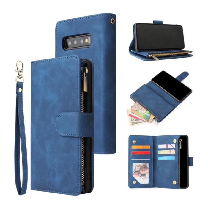 Samsung Galaxy S21 - Leren Wallet Flip Case Cover Hoesje Portefeuille Blauw
