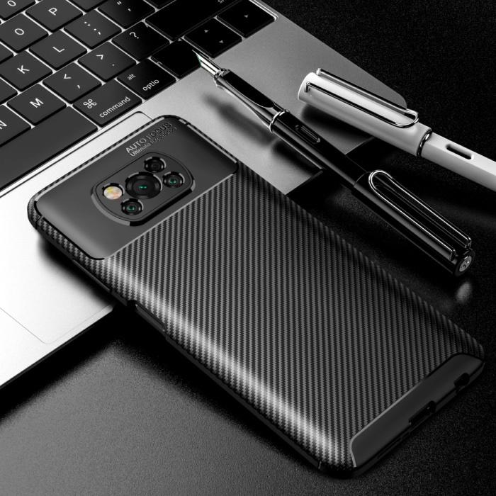 Xiaomi Poco M3 Case - Carbon Fiber Texture Stoßfeste Hülle Gummiabdeckung Schwarz