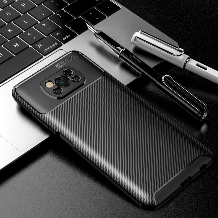 Xiaomi Poco M3 Hoesje - Carbon Fiber Textuur Shockproof Case Rubber Cover Zwart