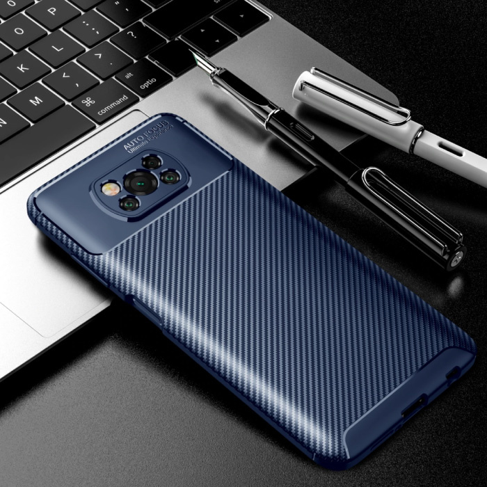 Xiaomi Poco M3 Hoesje - Carbon Fiber Textuur Shockproof Case Rubber Cover Blauw