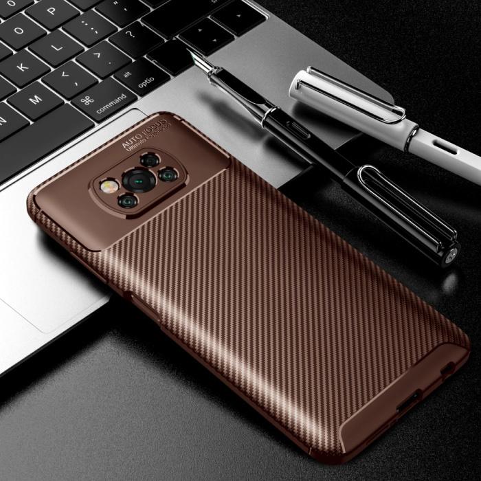 Coque Xiaomi Poco M3 - Coque antichoc à texture en fibre de carbone, couverture en caoutchouc marron
