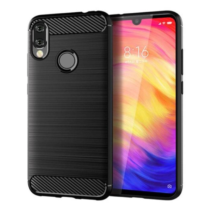 Xiaomi Redmi Note 6 Pro Hoesje - Carbon Fiber Textuur Shockproof Case TPU Cover Zwart