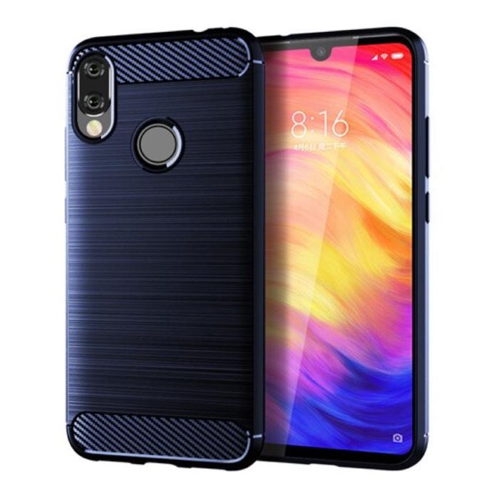 Xiaomi Redmi 9T Hoesje - Carbon Fiber Textuur Shockproof Case TPU Cover Blauw