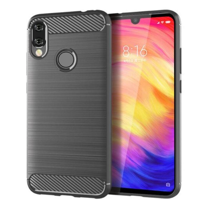 Xiaomi Redmi Note 10 Hoesje - Carbon Fiber Textuur Shockproof Case TPU Cover Grijs
