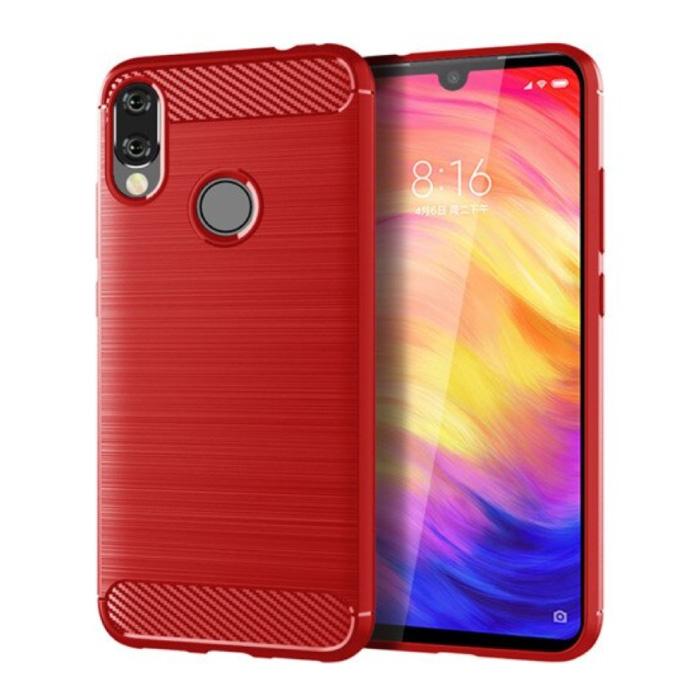 Xiaomi Redmi 9T Hoesje - Carbon Fiber Textuur Shockproof Case TPU Cover Rood