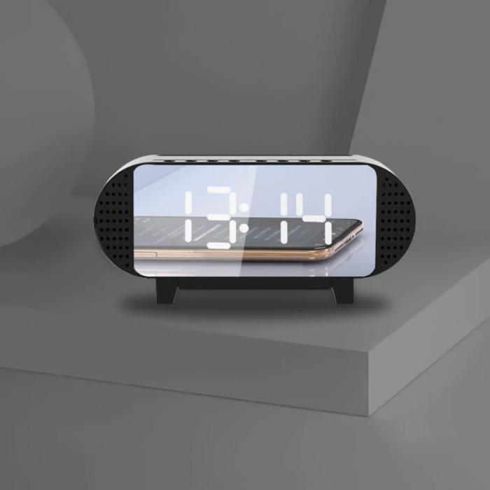 Digitale LED Klok met Luidspreker - Wekker Spiegel Alarm Telefoonhouder Snooze Helderheid Aanpassing Zwart