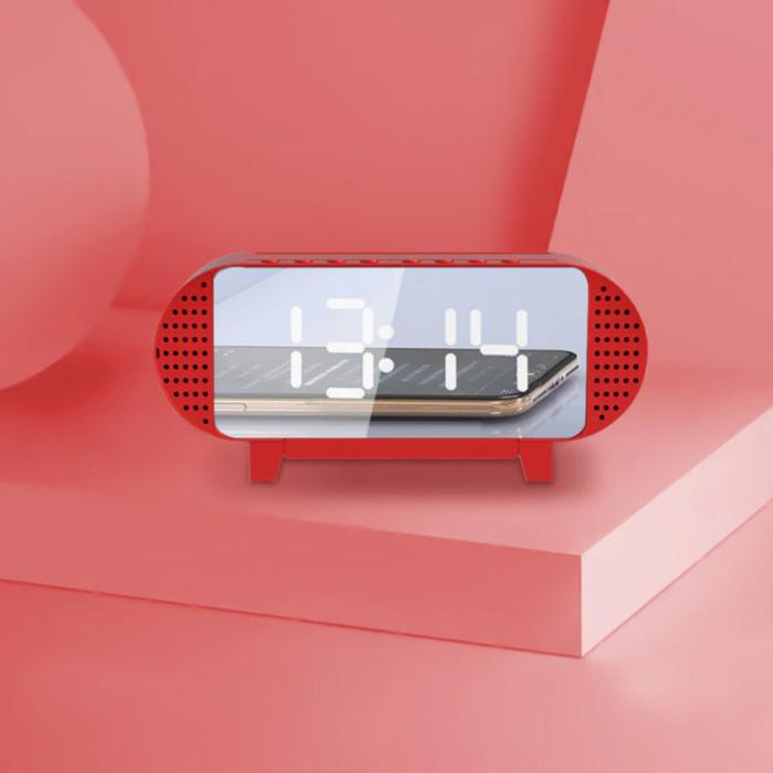 Horloge LED numérique avec haut-parleur - Réveil Miroir Alarme Support de téléphone Snooze Réglage de la luminosité Rouge