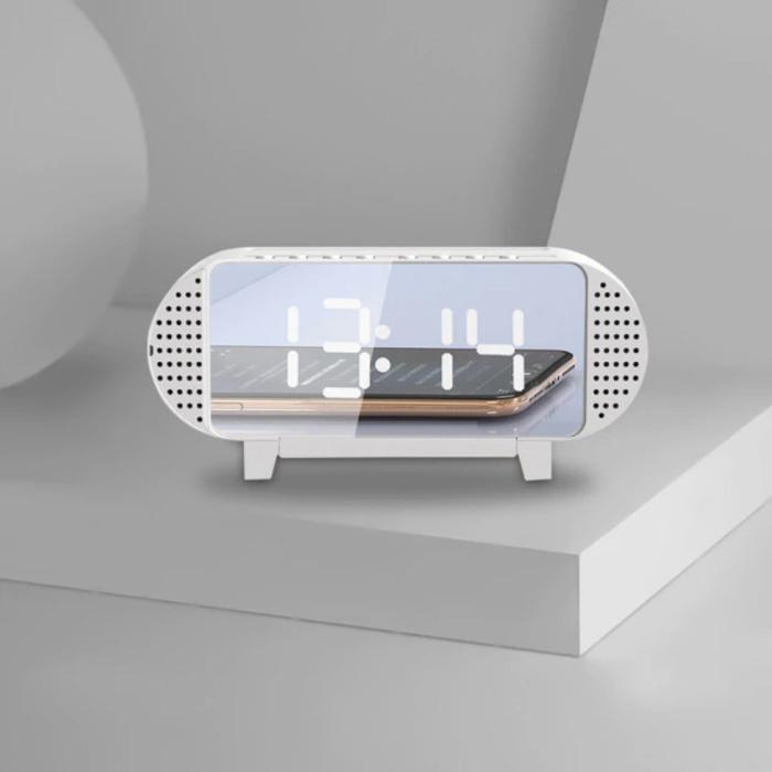 Horloge LED numérique avec haut-parleur - Réveil Miroir Alarme Support de téléphone Snooze Réglage de la luminosité Blanc