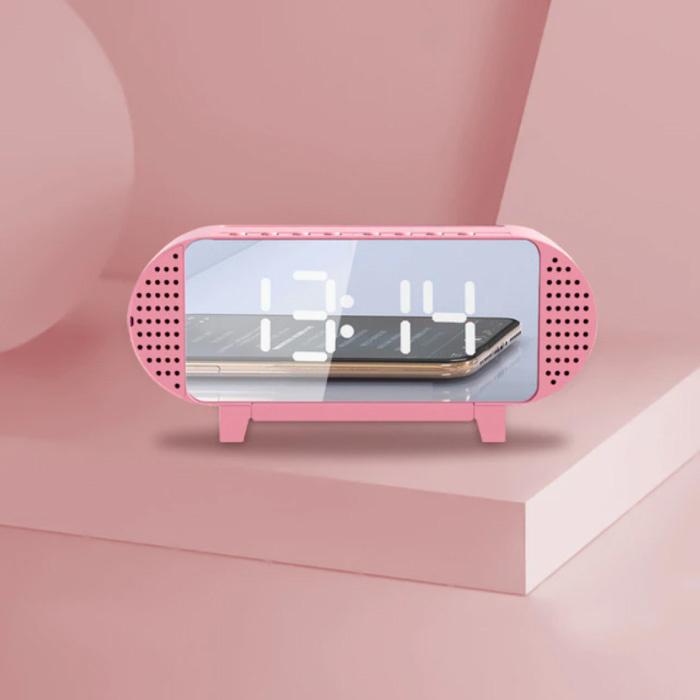 Horloge LED numérique avec haut-parleur - Réveil Miroir Alarme Support de téléphone Snooze Réglage de la luminosité Rose