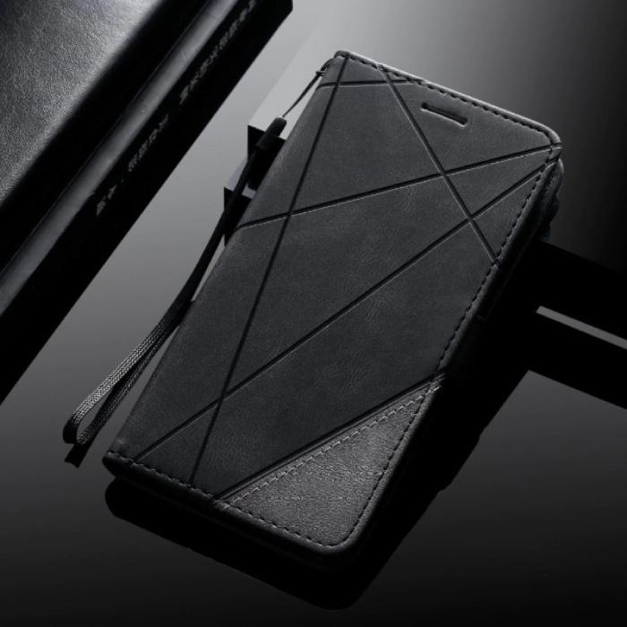 Samsung Galaxy A6 2018 - Leder Geldbörse Flip Case Cover Hülle Brieftasche Schwarz
