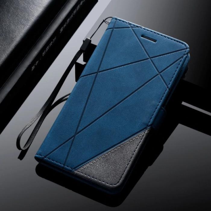 Samsung Galaxy A6 2018 - Leder Geldbörse Flip Case Cover Hülle Brieftasche Blau