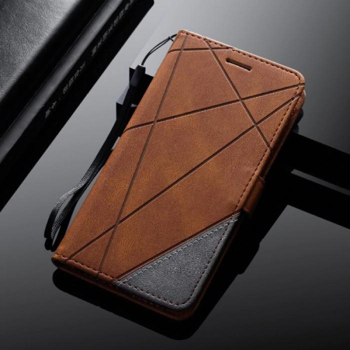 Samsung Galaxy J3 2015 - Leder Geldbörse Flip Case Cover Hülle Brieftasche Braun
