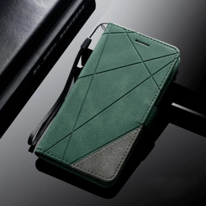 Samsung Galaxy J3 2017 - Leder Geldbörse Flip Case Cover Hülle Brieftasche Grün