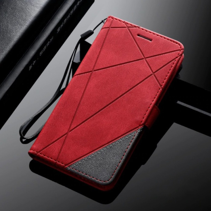 Samsung Galaxy A6 2018 - Leder Geldbörse Flip Case Cover Fall Brieftasche Rot