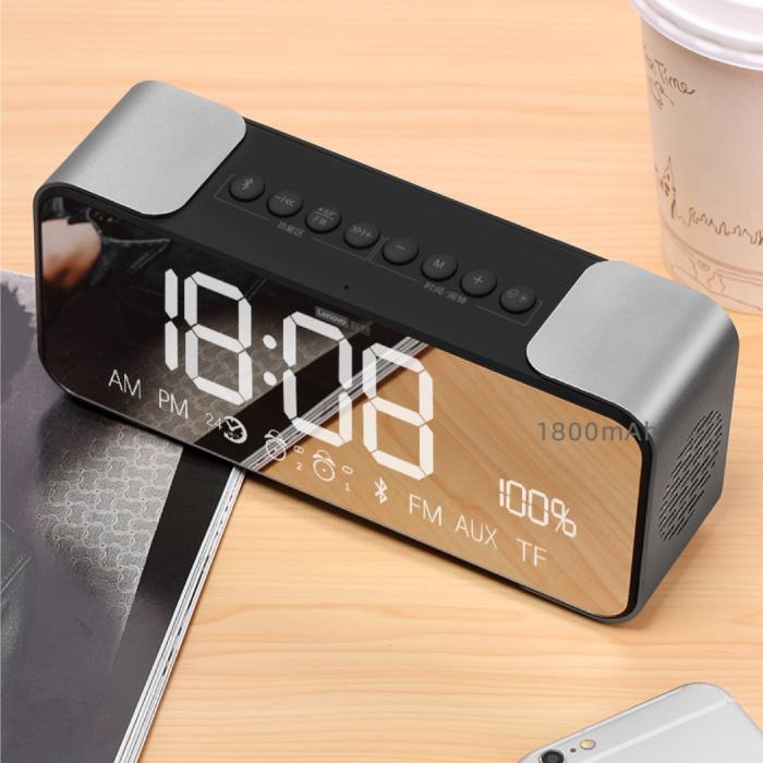 L022 Digitale LED Klok met Luidspreker - Draadloze Wekker Spiegel Alarm Telefoonhouder Snooze Helderheid Aanpassing Zilver