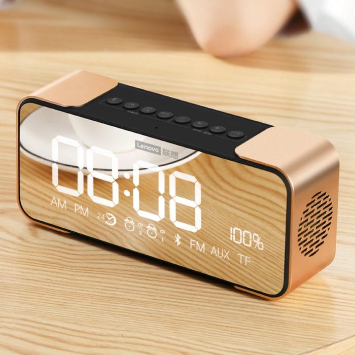 L022 Horloge LED numérique avec haut-parleur - Réveil sans fil Miroir Alarme Support de téléphone Snooze Réglage de la luminosité Or