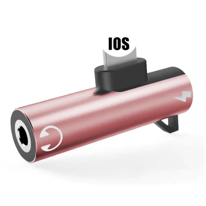 iPhone Lightning Oplader & AUX Splitter - Headphone Audio Splitter Adapter Roze