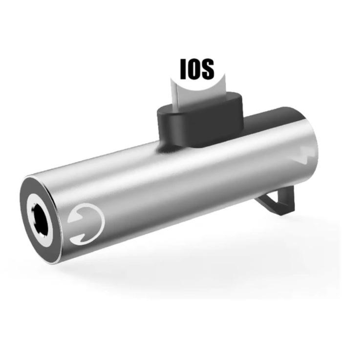 iPhone Lightning Charger & AUX Splitter - Headphone Audio Splitter Adapter Silver