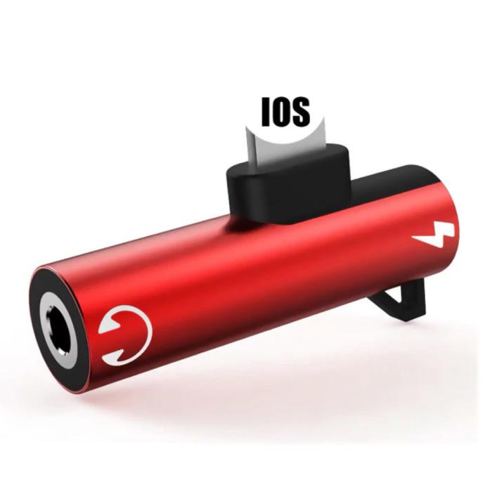 iPhone Lightning Charger & AUX Splitter - Adaptateur Splitter Audio pour Casque Rouge
