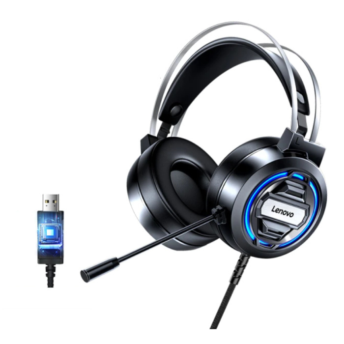 H401 Gaming Headphones with 7.1 Surround Sound - USB Connection Headset with Microphone DJ Headphones Black