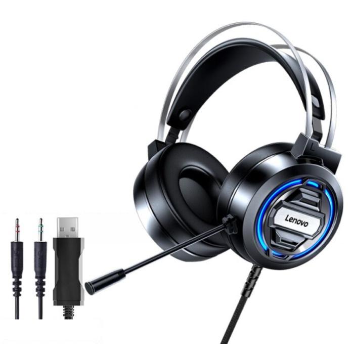 Casque de jeu H401 avec connexion USB et AUX - Casque avec microphone Casque DJ Noir