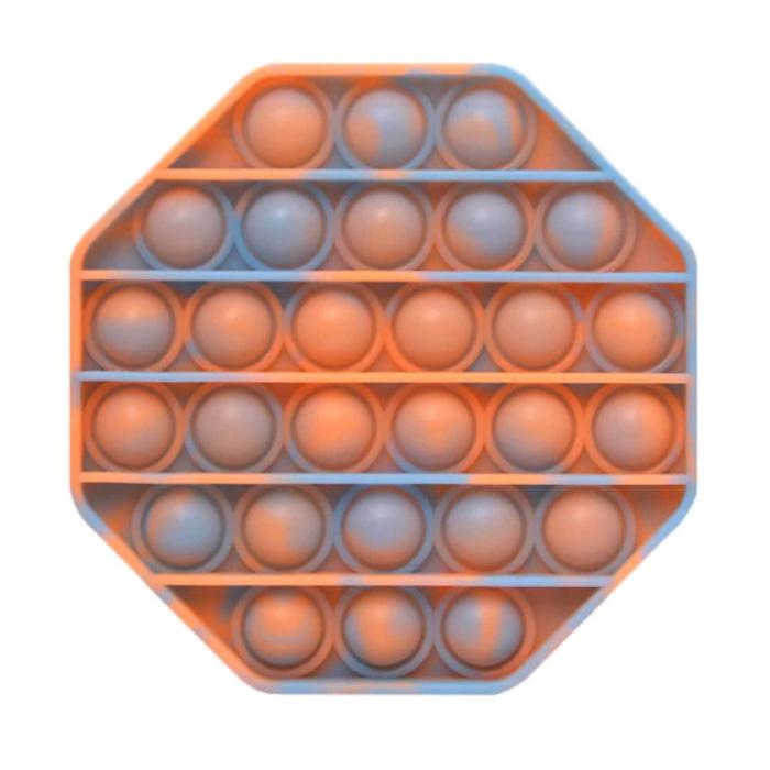 Pop It - Fidget Anti Stress Speelgoed Bubble Toy Siliconen Octagon Oranje-Blauw