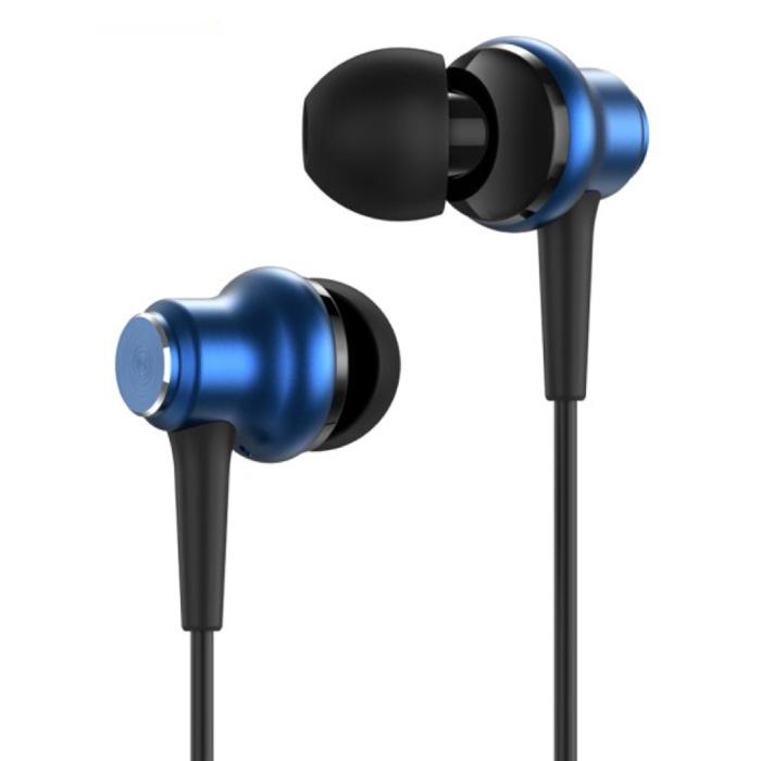 F37 Oordopjes met Microfoon en Controls - 3.5mm AUX Oortjes Volumebeheer Wired Earphones Oortelefoon Blauw