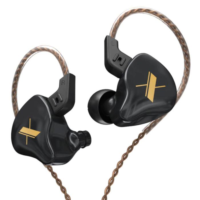EDX 1DD Oordopjes - 3.5mm AUX Oortjes Noise Control Volumebeheer Wired Earphones Oortelefoon Zwart