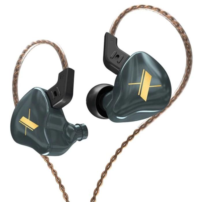 EDX 1DD Oordopjes - 3.5mm AUX Oortjes Noise Control Volumebeheer Wired Earphones Oortelefoon Grijs