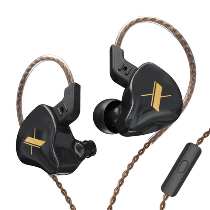 EDX 1DD Oordopjes met Microfoon en Muziek Beheer - 3.5mm AUX Oortjes Wired Earphones Oortelefoon Zwart