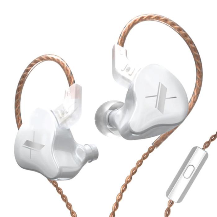 Écouteurs EDX 1DD avec microphone et gestion de la musique - Écouteurs AUX 3,5 mm Écouteurs filaires Écouteurs blancs