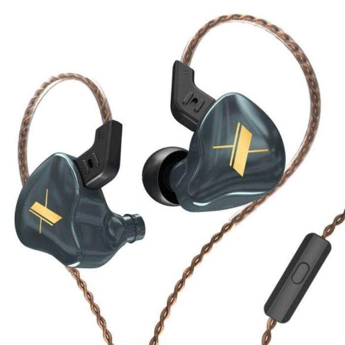 EDX 1DD Oordopjes met Microfoon en Muziek Beheer - 3.5mm AUX Oortjes Wired Earphones Oortelefoon Grijs