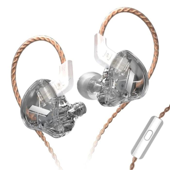 EDX 1DD Oordopjes met Microfoon en Muziek Beheer - 3.5mm AUX Oortjes Wired Earphones Oortelefoon Transparant