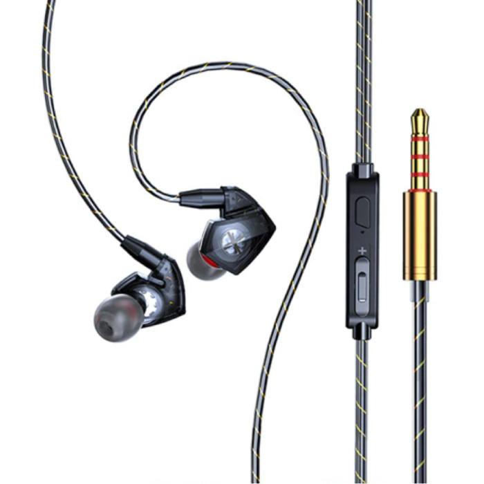 T06 Oordopjes met Microfoon en Muziek Beheer - 3.5mm AUX Oortjes Wired Earphones Oortelefoon Volumebeheer Zwart