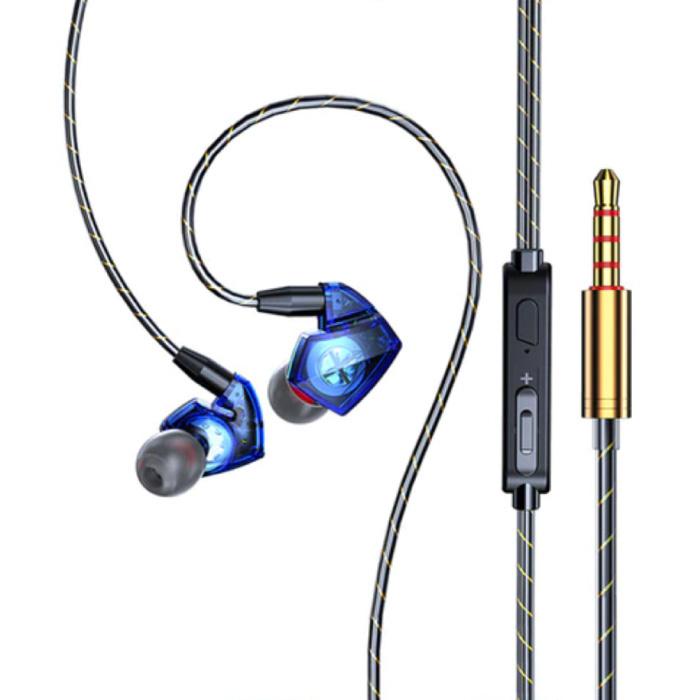 T06 Oordopjes met Microfoon en Muziek Beheer - 3.5mm AUX Oortjes Wired Earphones Oortelefoon Volumebeheer Blauw