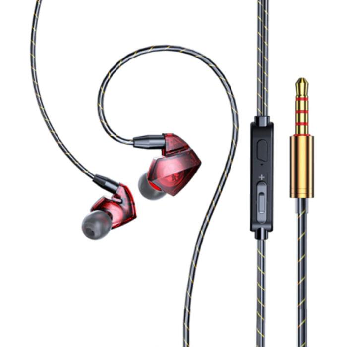 T06 Oordopjes met Microfoon en Muziek Beheer - 3.5mm AUX Oortjes Wired Earphones Oortelefoon Volumebeheer Rood