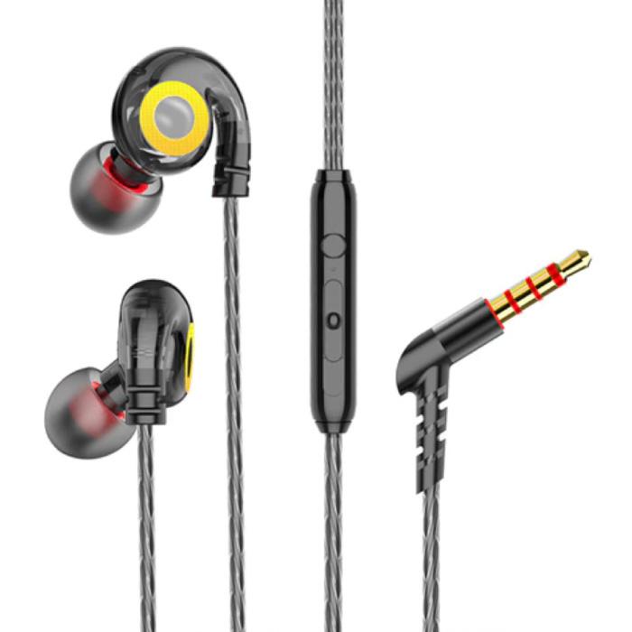 T05 Oordopjes met Microfoon en Muziek Beheer - 3.5mm AUX Oortjes Wired Earphones Oortelefoon Volumebeheer Zwart