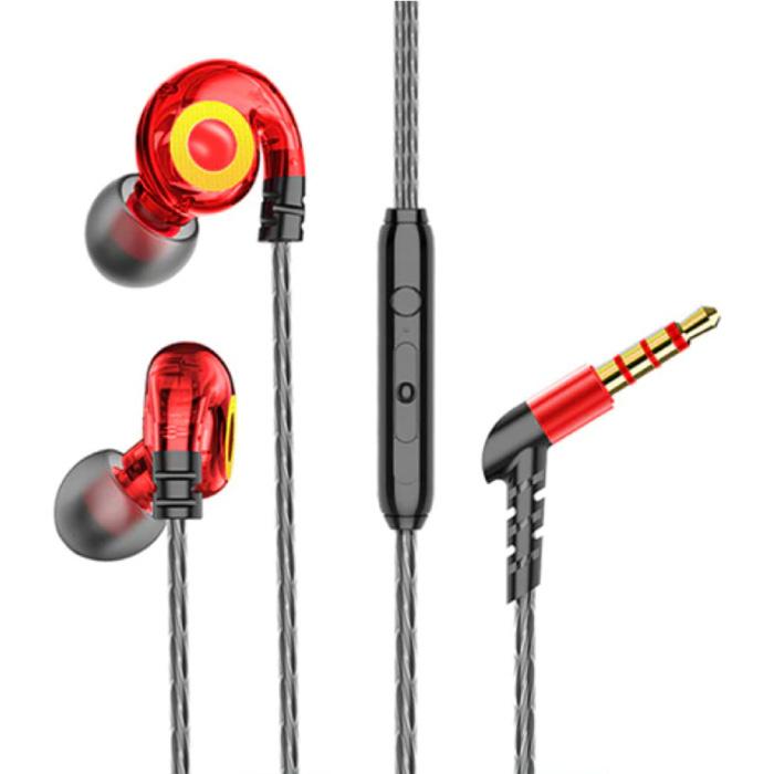 T05 Oordopjes met Microfoon en Muziek Beheer - 3.5mm AUX Oortjes Wired Earphones Oortelefoon Volumebeheer Rood