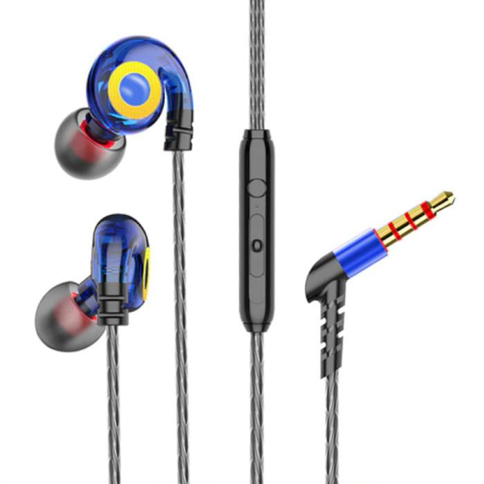 T05 Oordopjes met Microfoon en Muziek Beheer - 3.5mm AUX Oortjes Wired Earphones Oortelefoon Volumebeheer Blauw