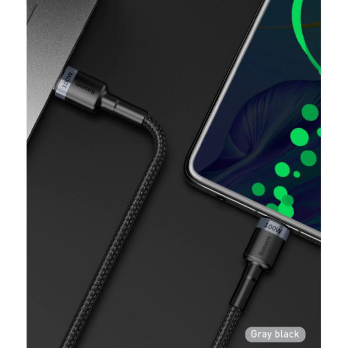 Baseus 100W USB-C naar USB-C Oplaadkabel 1 Meter Gevlochten Nylon - Tangle Resistant Oplader Data Kabel Zwart