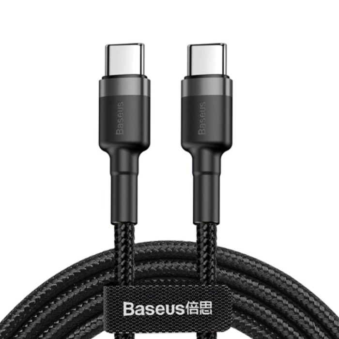 60W USB-C to USB-C Charging Cable 1 Meter Braided Nylon - Tangle Resistant Charger Data Cable Black