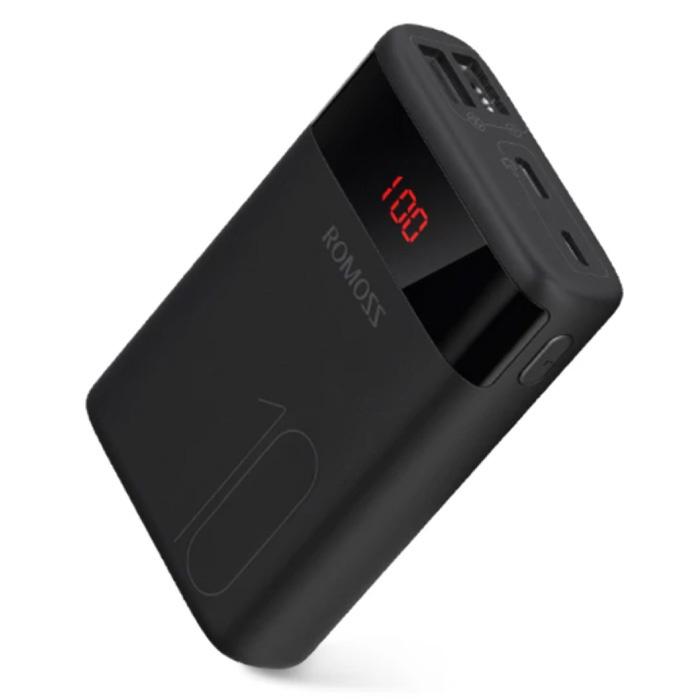 Banque d'alimentation Ares 10 000 mAh avec 4 ports - Chargeur de batterie de secours externe à affichage LED Noir