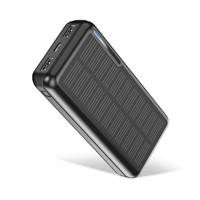 Banque d'alimentation solaire sans fil avec 4 ports 20.000mAh - Indicateur LED Chargeur de batterie d'urgence externe Sun Black
