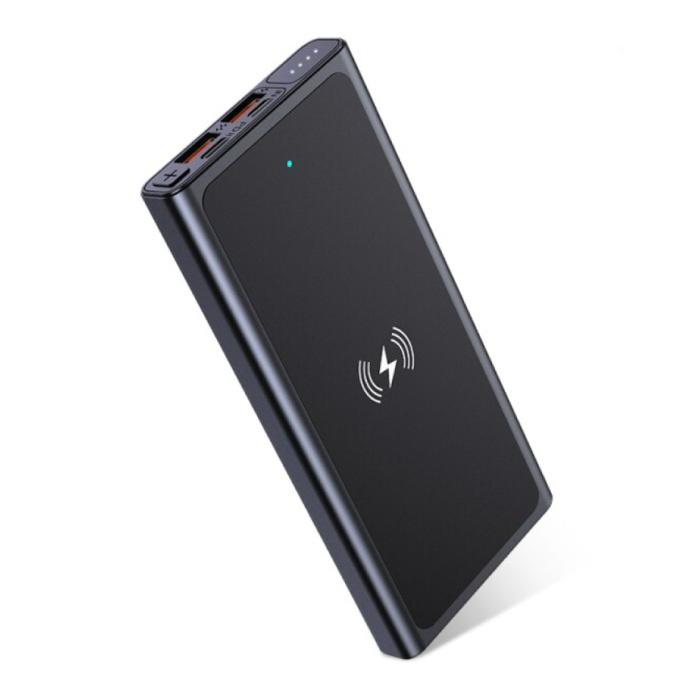 10.000mAh Draadloze Qi Oplader + Powerbank Noodaccu Wireless Charger Pad Zwart
