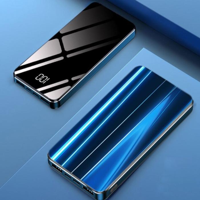 10.000mAh Powerbank met 4 Poorten - LED Display Externe Noodaccu Oplader Charger Blauw